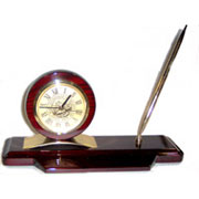 Clock Executive Desk Mahogany Clock & Pen Set