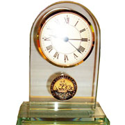 Glass Clock W/Medallion
