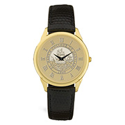 Mens Watch Blk W/Seal Gold Seal Center