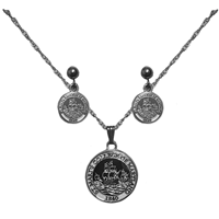 College Seal Necklace & Stud Earrings Set