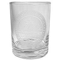 College Seal Old Fashioned Glass
