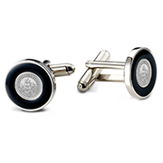 College Seal Cufflinks With Black Enamel