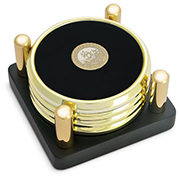 Coaster Set 4 Round Gold W/Gold Meallion Gift Box