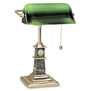 Bankers Dsk Lamp Gold Brass Base Marble Stem
